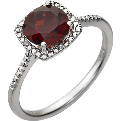 Sterling Silver 7mm Garnet Ring with Diamonds