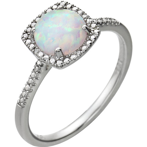 Sterling Silver 7mm Created Opal Ring with Diamonds