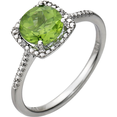 Sterling Silver 7mm Peridot Ring with Diamonds