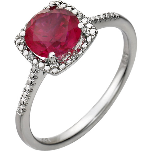 Sterling Silver 7mm Created Ruby Ring with Diamonds