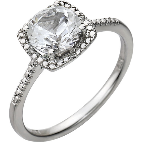 Sterling Silver 7mm White Sapphire Ring with Diamonds