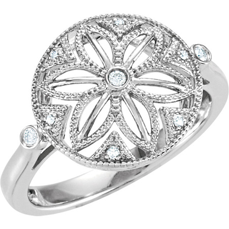 Sterling Silver .05 ct tw Diamond Floral Ring