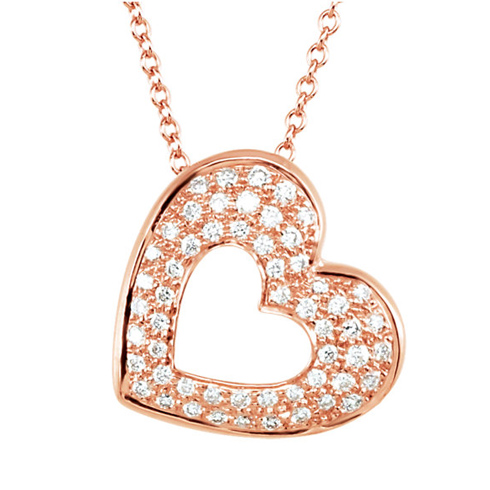 14kt Rose Gold 1/4 ct Diamond Cut-out Heart 18in Necklace