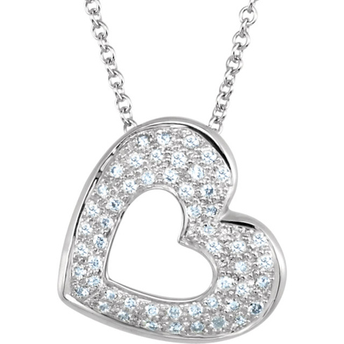 14kt White Gold 1/4 ct Diamond Cut-out Heart 18in Necklace