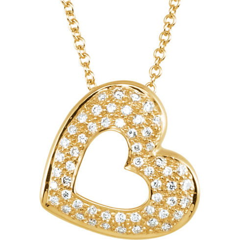 14kt Yellow Gold 1/4 ct Diamond Cut-out Heart 18in Necklace