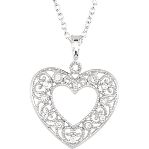 14kt White Gold 1/10 ct Diamond Filigree Heart Necklace