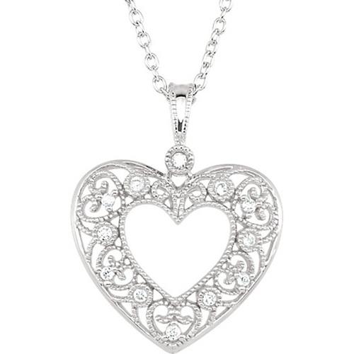 14kt White Gold 1/10 ct Diamond Filigree Heart Necklace