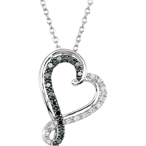 14kt White Gold 1/5 ct Black and White Diamond Heart Necklace