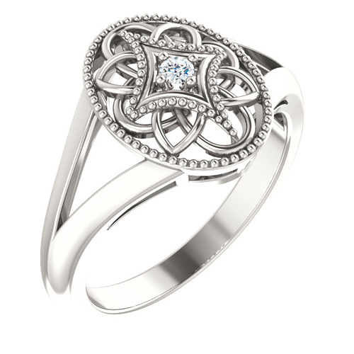 Sterling Silver .05 ct tw Diamond Filigree Cross Ring