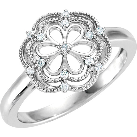 Sterling Silver .08 ct tw Diamond Floral Ring