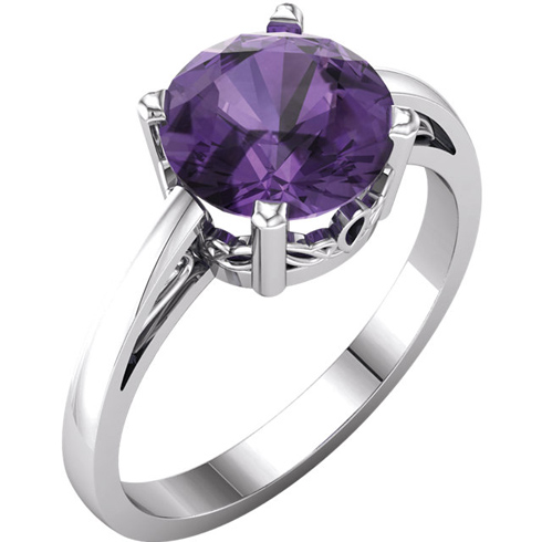 14kt White Gold 1.75 ct Amethyst Ring with Scroll Design