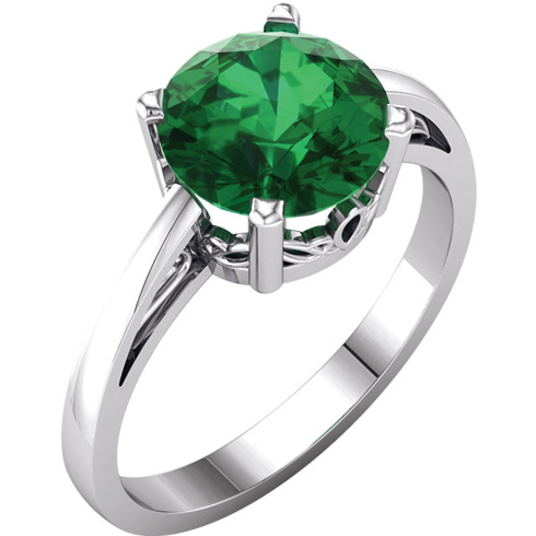 14kt White Gold 1.75 ct Created Emerald Ring with Scroll Design