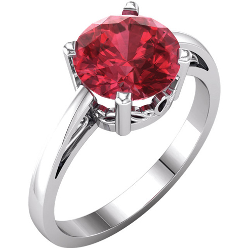 14kt White Gold 2.75 ct Created Ruby Ring with Scroll Design