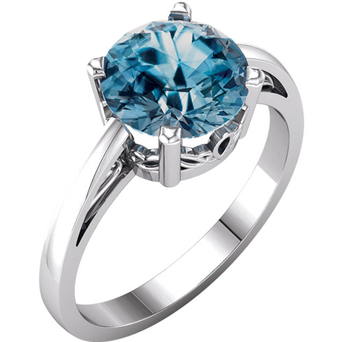 14kt White Gold 2.4 ct Swiss Blue Topaz Ring with Scroll Design