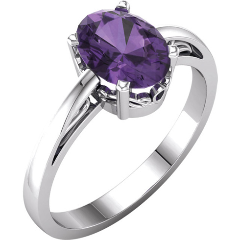 14kt White Gold 1.2 ct Oval Amethyst Ring With Scroll Design