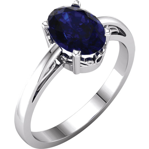 14kt White Gold 1.75 ct Oval Created Blue Sapphire Ring Scroll Design