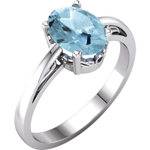 14kt White Gold 2 ct Oval Blue Zircon Ring With Scroll Design