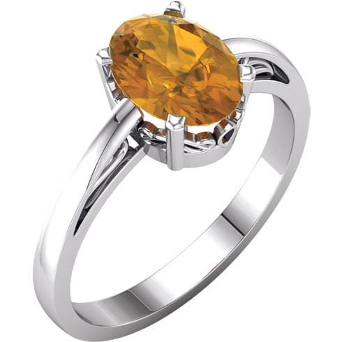 14kt White Gold 1.2 ct Oval Citrine Ring With Scroll Design