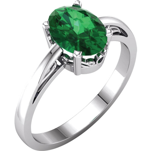 14kt White Gold 1.15 ct Oval Created Emerald Ring With Scroll Design