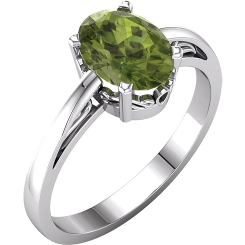 14kt White Gold 1.35 ct Oval Peridot Ring With Scroll Design