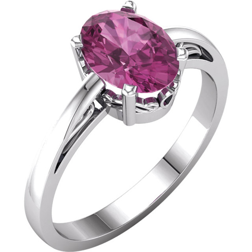 14kt White Gold 1.35 ct Oval Pink Tourmaline Ring With Scroll Design