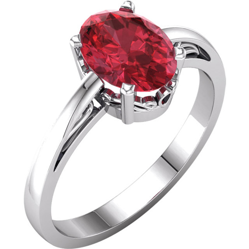 14kt White Gold 1.75 ct Oval Created Ruby Ring With Scroll Design