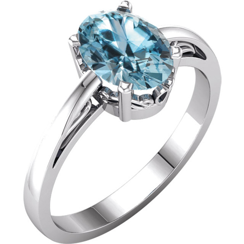 14kt White Gold 1.6 ct Oval Sky Blue Topaz Ring With Scroll Design