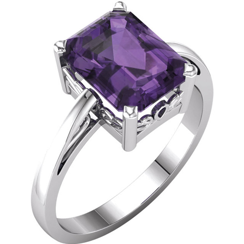 14kt White Gold 2.25 ct Emerald-cut Amethyst Ring