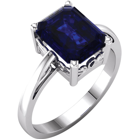 14kt White Gold 3 ct Emerald-cut Chatham Created Blue Sapphire Ring