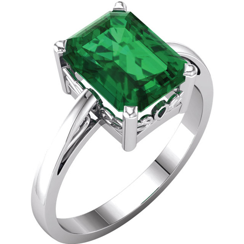 14kt White Gold 2.5 ct Emerald-cut Chatham Created Emerald Ring