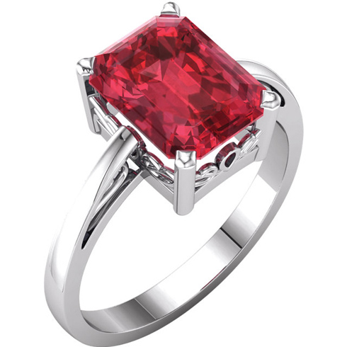 14kt White Gold 3 ct Emerald-cut Chatham Created Ruby Ring