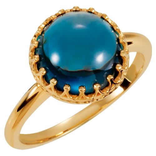 14k Yellow Gold 10mm London Blue Topaz Crown Cabochon Ring