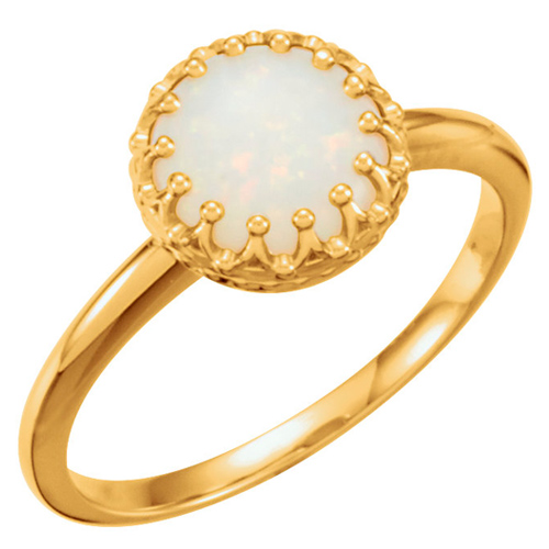 14k Yellow Gold 8mm Opal Crown Cabochon Ring