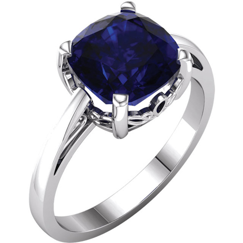 14kt White Gold 3.3 ct Antique Square Chatham Created Sapphire Scroll Ring