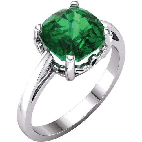 14k White Gold 2.15ct Chatham Created Emerald Scroll Ring