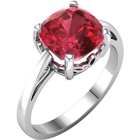 14kt White Gold 3 1/4 ct Antique Square Chatham Created Ruby Scroll Ring