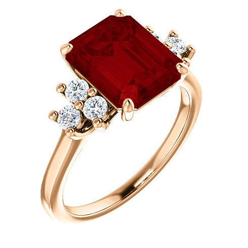 14kt Rose Gold 4 1/4 ct Chatham Created Ruby and 1/8 ct Diamond Ring