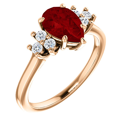 14k Rose Gold 1.6 ct Pear Chatham Created Ruby and 1/8 ct Diamond Ring