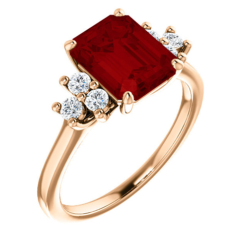 14kt Rose Gold 3 ct Chatham Created Ruby and 1/8 ct Diamond Ring