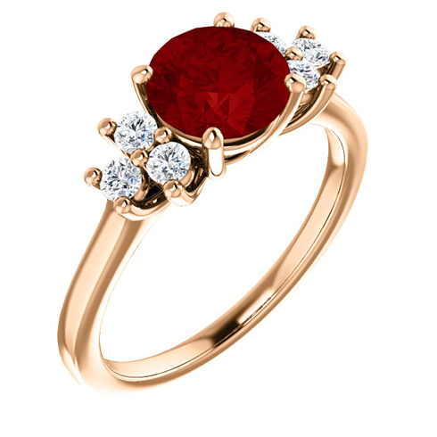 14kt Rose Gold 1.85 ct Chatham Created Ruby and 1/8 ct Diamond Ring
