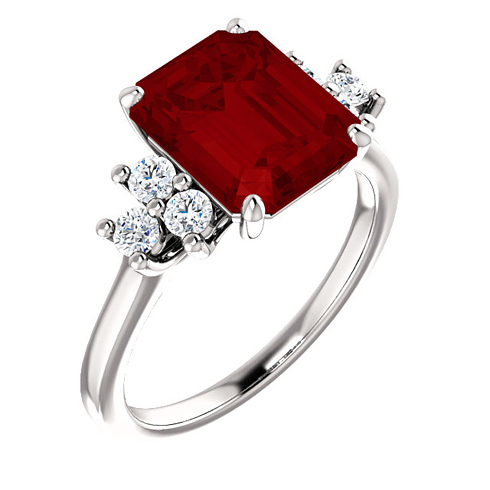 14kt White Gold 4 1/4 ct Chatham Created Ruby and 1/8 ct Diamond Ring