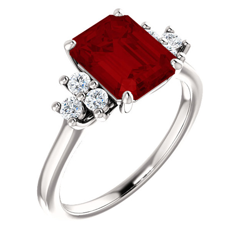 14kt White Gold 3 ct Chatham Created Ruby and 1/8 ct Diamond Ring