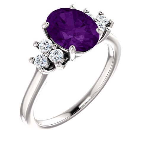 14kt White Gold 1.7 ct Oval Amethyst and 1/4 ct Diamond Ring