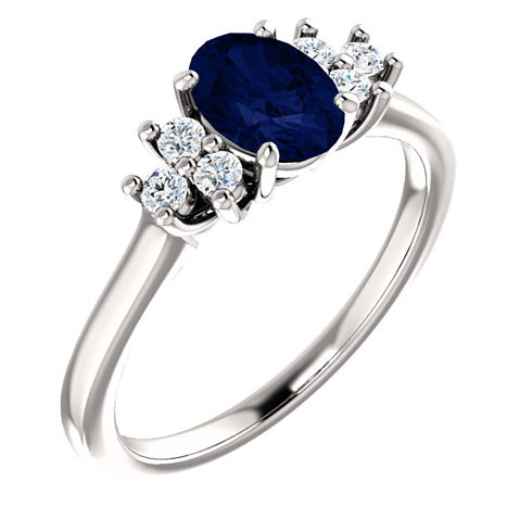 14kt White Gold 1.1 ct Oval Sapphire and 1/5 ct Diamond Ring