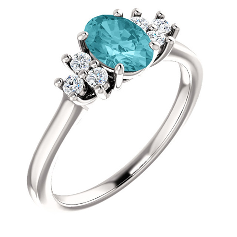 14kt White Gold 1.25 ct Oval Blue Zircon and 1/5 ct Diamond Ring
