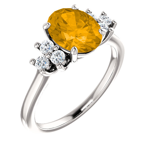 14kt White Gold 1.7 ct Oval Citrine and 1/4 ct Diamond Ring