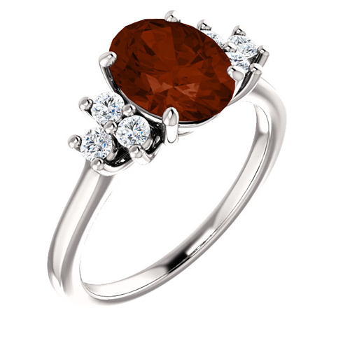 14kt White Gold 2.2 ct Oval Garnet and 1/4 ct Diamond Ring
