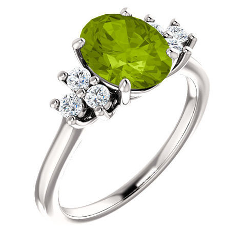 14kt White Gold 2 ct Oval Peridot and 1/4 ct Diamond Ring