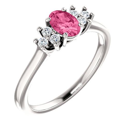 14kt White Gold 1/2 ct Pink Tourmaline and 1/8 ct Diamond Ring