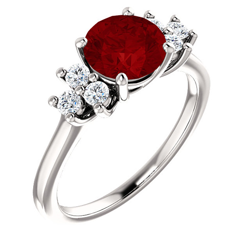 14kt White Gold 1.85 ct Chatham Created Ruby and 1/8 ct Diamond Ring